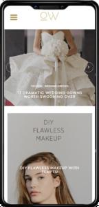 Once Wed website on mobile